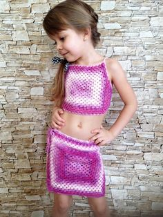 Crochet colorful toddler / women set granny square wrap skirt and crop top Boho cover up open back top Beach clothing kids vacation outfit Preteen Girls Fashion, Young Girl Fashion, Girls Fashion Clothes, Kids Fashion, Cheer Outfits, Kids Outfits, Top Boho, Little Girl Bikini, Little Girl Leggings
