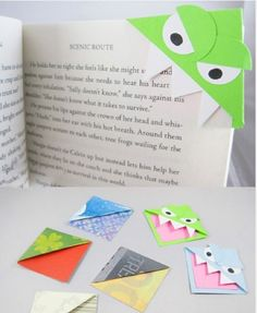 """Cute idea for bookmark class art project.  Hit a """"spam alert"""" on Pinterest so will have to figure out origami part on my own.  Cute idea -- something different."""