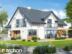 gotowy projekt Dom w hortensjach 2 Architecture Building Design, Balcony Design, Home Decor Inspiration, New Homes, Villa, House Design, Pergola, Mansions, House Styles