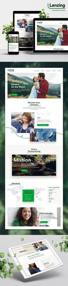 Entwicklung einer Content Strategie, Konzeption, Design und Programmierung der neuen internationalen Lenzing Webseite. Website Designs, Content, Website, Design Websites, Website Layout, Web Design, Design Web