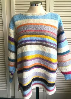 Hand Knitted Ladies Jumper, Boho, Cosy, Arty, Tunic style one size. Hand Knitted Sweaters, Jumpers For Women, Cosy, Hand Knitting, Tunic, Pullover, Casual, Style, Fashion
