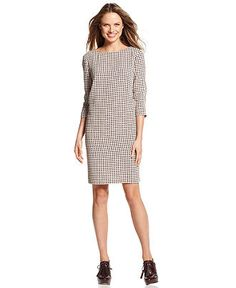 Tommy Hilfiger Dress, Three-Quarter-Sleeve Houndstooth Shift - Dresses - Women - Macy's