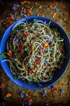 Thai Zucchini Noodle Salad- Vegan from HeatherChristo.com