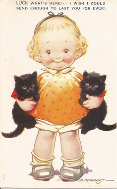 Signed artist Tempest Vintage postcard -By Clarissa