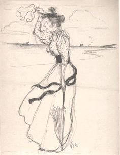 Evenepoel, A lithograph of a woman on the seashore, perhaps in his native Belgium.