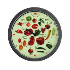 Colorful Chili Peppers Wall Clock by Dreambarks - CafePress Best Wall Clocks, Unique Wall Clocks, Kitchen Decor Themes, Kitchen Colors, Grandfather Clocks For Sale, Best Outdoor Lighting, Wall Clock Design, Retro Renovation, Outdoor Light Fixtures