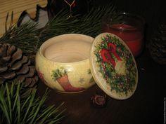 """Купить """"Рождественский венок"""" - бежевый, шкатулка, шкатулка для украшений, шкатулка декупаж, шкатулка деревянная, шкатулки"""