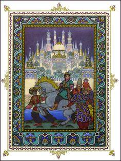 "llustration for ""L'oiseau de Feu"" [Tsarevich Ivan on the Horse with the Golden Mane of Tsar Afron]  Boris Zvorykin (Russian, Moscow 1872–1942 Paris)  Date: ca. 1925"