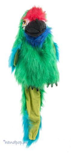 Deze 45 cm grote soldatenara van the Puppet Company is net zo kleurrijk als een echte. Deze handpop is uitgevoerd in groen, blauw en rood langharig pluche.