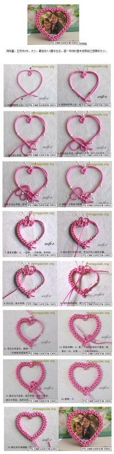 Heart-shaped mini fashion can last knot art frames outtakes line, possession of a good thread. Cut a proper sized heart-shaped cardboard, p ...