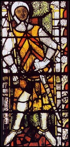 Stained glass portrait of Gilbert de Clare at Tewkesbury Abbey (1340)