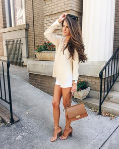 lace-up sweater and white shorts for summer