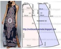 Vestido azul royal estampado - Moldes Moda por Medida