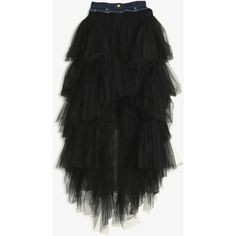 NATASHA ZINKO Tulle Layer Denim Skirt ($1,669) ❤ liked on Polyvore featuring skirts, layered ruffle skirt, button front denim skirt, knee length denim skirt, layered tutu and tulle tutu skirt