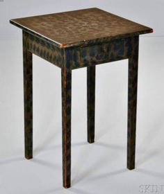 Skinner's - Ellie Hoover Collection.  August 9, 2015 Lot 1119.   Estimate $1,500-2,500.   Realized: $7,380.         Description:   Hepplewhite Paint-decorated One-drawer Stand, Pennsylvania, c. early 19th century, with blue sponge paint on an olive green ground, ht. 27 1/4, wd. 18 1/2 in.