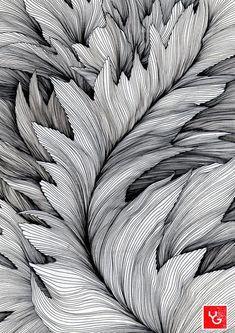 Line drawing art, contour line art, leaf drawing, texture drawing, plant dr Texture Drawing, Leaf Drawing, Line Texture, Contour Line Art, Art Sketches, Art Drawings, Motif Art Deco, Drawn Art, Zentangle Patterns