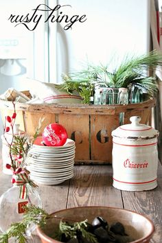 Vintage french farmhouse crockery and tableware for a christmas feel