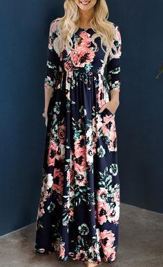 $34.99 Ecstatic Harmony Navy Blue Floral Print Maxi Dress