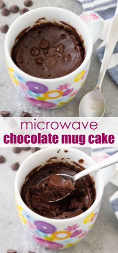 An easy chocolate mug cake that tastes like a brownie in a cup This chocolate cake in a mug is a delicious microwave dessert that even a kid can make This recipe has no egg and cooks in just 1 minute mugcake chocolate chocolatecake dessertrecipes Microwave Chocolate Cakes, Microwave Chocolate Mug Cake, Chocolate Mug Cakes, Chocolate Desserts, Chocolate Fondue, No Egg Mug Cake, Easy Mug Cake, Cake Mug, Mug Recipes
