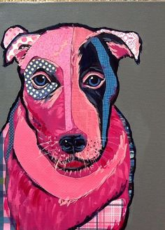 Not Frida Original Dog Collage Painting by zouzousbasement on Etsy, $275.00