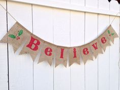 Banner Felt Bow Santa Stocking Rustic JINGLE BELLS Burlap Bunting