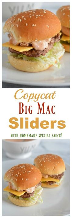 Who doesn't love a Big Mac Burger? Enjoy a healthier version right at home with this Homemade Big Mac Slider recipe! These mini burgers are tucked into sesame seed buns and topped with a homemade version of McDonald's special sauce. My Burger, Mini Burgers, Turkey Burgers, Veggie Burgers, Copycat Recipes, Beef Recipes, Cooking Recipes, Recipies, Hamburger Recipes
