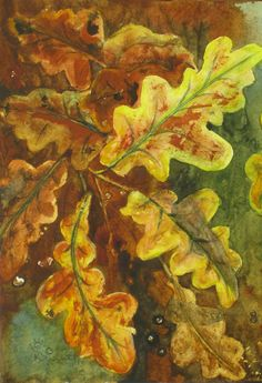 """Autumn Leaves"" (watercolour - 24cm x 14cm (9.5"" x 5.5""))"