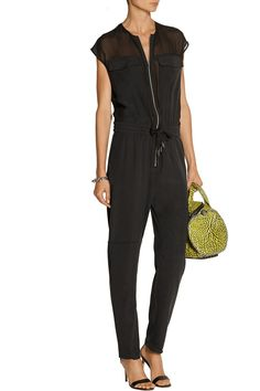 T by Alexander WangGeorgette-paneled silk-charmeuse jumpsuitback