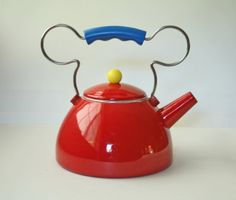 . mickey mouse red tea kettle - how cute is this!