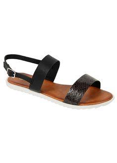 """Cameron"" Double Strap Snakeskin Flat Sandals - Black"