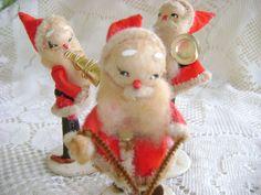 Vintage Chenille Christmas Santa Clauses