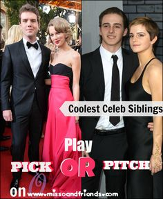 Is it Austin and Taylor Swift or Harry and Gemma Styles? Pick the Coolest Celeb Siblings in this game of Pick or Pitch on Miss O and Friends. Hottest Female Celebrities, Celebs, Gemma Styles, Celebrity Updates, Internet Safety, Life Advice, Siblings, Pitch, Tween