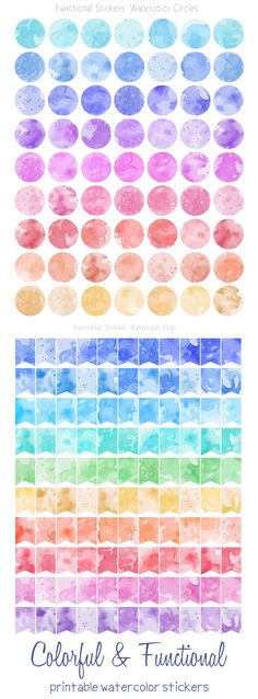 Hand painted watercolor textures turned into printable, colorful and functional stickers to decorate planners and journals. Since these come in all the colors of the rainbow, they fit with different planner designs and can be combined with other stickers. Planner flags, planner circles / dots with watercolor patterns