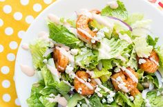 This Buffalo Shrimp Dinner Salad #recipe has all the #delicious flavor you love and less than 200 calories!