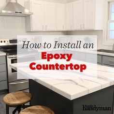 How to Install an Epoxy Countertop DIY Videos - Home decor ideas - Hans Epoxy Countertop Makeover, Epoxy Countertop, Laminate Countertops, Concrete Overlay Countertops, Concrete Kitchen Countertops, Painted Countertops, Kitchen Countertop Decor, Kitchen Cabinets, Diy Interior