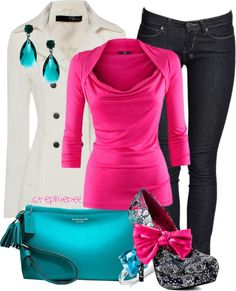 """""""Turquoise Coach"""" by stephiebees on Polyvore - no ribbon on the shoes please, love the rest"""