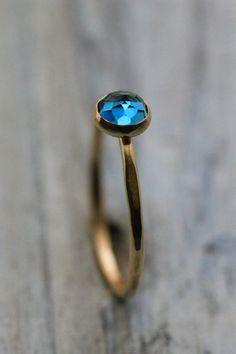 http://rubies.work/0273-ruby-rings/ Genuine RoseCut London Blue Topaz 14K Yellow by palefishny on Etsy