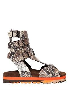 MSGM - 20MM PYTHON EMBOSSED LEATHER SANDALS - LUISAVIAROMA - LUXURY SHOPPING WORLDWIDE SHIPPING - FLORENCE