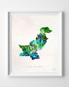 Pakistan Map Print Islamabad Print Pakistan Poster by InkistPrints