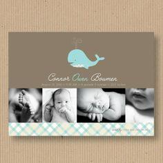 Modern Whale  Custom Baby Announcement Photo Card by RoxterDesigns, $18.00