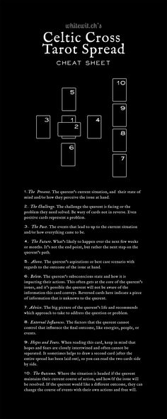 Still need to get better at tarot so i can practice this spread Wiccan, Witchcraft, Pagan, Magick Spells, Celtic Cross Tarot, Tarot Card Spreads, Oracle Tarot, Tarot Card Meanings, Tarot Readers