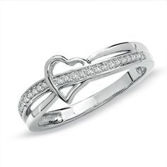 Diamond Accent Heart Swish Band in 10K White Gold - View All Rings - Zales