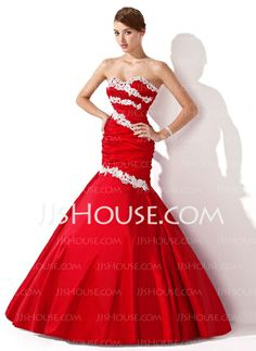 Prom Dresses - $148.99 - Mermaid Sweetheart Floor-Length Taffeta Prom Dress With Ruffle Appliques Sequins (018004955) http://jjshouse.com/Mermaid-Sweetheart-Floor-Length-Taffeta-Prom-Dress-With-Ruffle-Appliques-Sequins-018004955-g4955