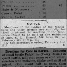 Reno Gazette-Journal, 5 Feb 1910, Sat, Main Edition  Mary Buncel invites Ladies of the Macabees to her home on Lake Street
