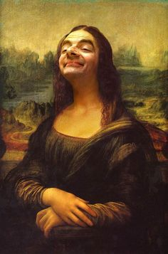 Mona Lisa highjacked by Mr Bean! I'm not exactly sure why this crazy photo-manipulation of Mr Bean as Leonardo Da Vinci's Mona Lisa has. Mr. Bean, Mona Lisa Parody, Mona Lisa Smile, Illustrator, Caricature Artist, Caricature Photo, Photocollage, Classic Paintings, Funny Art