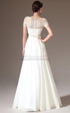 #bridesmaiddresses Bateau Neckline Chiffon , Lace White Long Bridesmaid Dress with Short Sleeve JT-CA1405