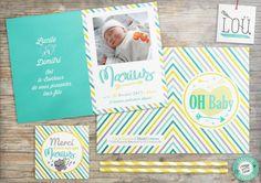 Faire Part, invitation, card, kids, naissance, birth, enfant, stripes, rayures,  studio-lou.fr/