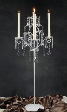 White Candelabra with Hanging Crystals (Set of 2)