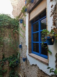 Unique experience in Seville/ Sevilla (Spain). Restored Spanish house, rustic house with distressed stone brick walls and wood beam ceiling. Spanish patio/  courtyard open to the exterior, beautiful colorful flowers hanging from the distressed wall in artisan handmade pot/ planter. DIY painted wood window and  DIY window frame with handmade stone bricks, DIY handmade rustic wood blinds/ curtains. Rustic stone house. Ideas, design & more info on juancarloscoquerel.com