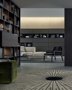 "Wall System in spessart oak. Inner grids th. 1/2"" piombo mat lacquered and built-in led lamps, Jet jutting out fl ap doors in spessart oak. Equipped inserts in spessart oak and Slim fl ap doors visone mat lacquered. Ego Day sides and doors in reflecting transparent glass, carbone mat lacquered frame."